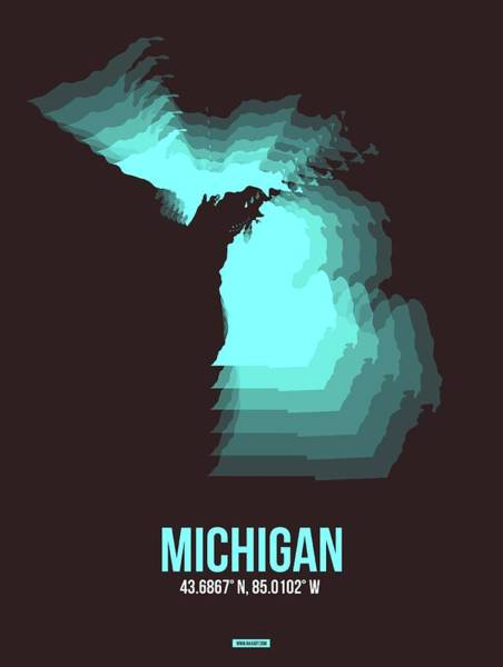 Wall Art - Digital Art - Blue Map Of Michigan by Naxart Studio