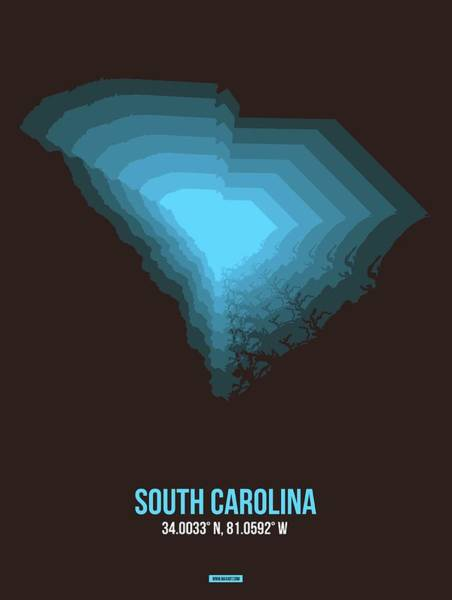 Wall Art - Digital Art - Blue Map Of South Carolina by Naxart Studio