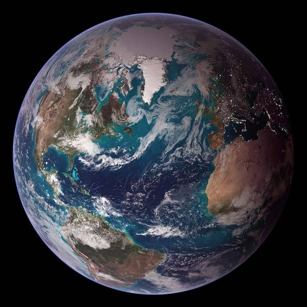 Wall Art - Painting - Blue Marble Western Hemisphere by Celestial Images