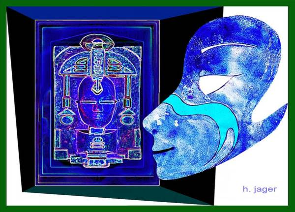 Mixed Media -  Blue  Mask by Hartmut Jager