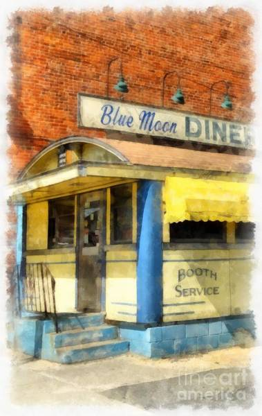 Digital Art - Blue Moon Diner  2 by Edward Fielding