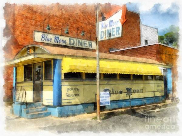 Wall Art - Digital Art - Blue Moon Diner  by Edward Fielding