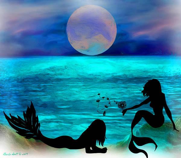 Dandilions Painting - Blue Moon Lagoon by WallArt ByDoll