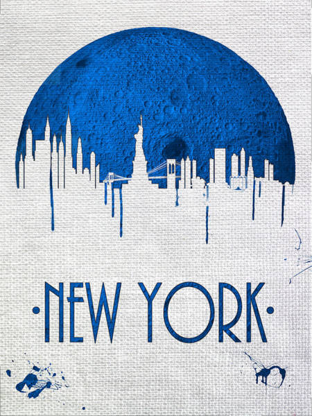 City Scape Digital Art - Blue Moon Over New York by Tim Palmer