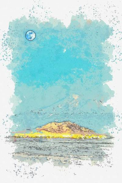 Wall Art - Painting - Blue Moon Over Northern Landscape -  Watercolor By Ahmet Asar by Ahmet Asar