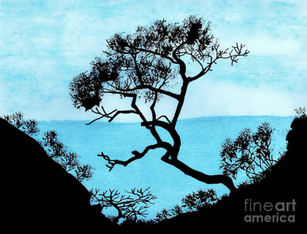 Grey Skies Drawing - Blue Mountain by D Hackett