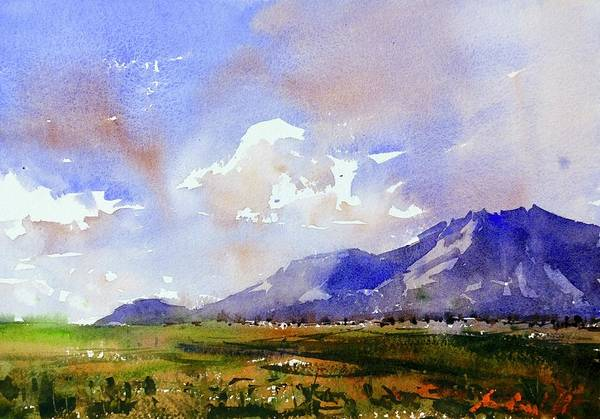 Wall Art - Painting - Blue Mountain Landscape by Max Good
