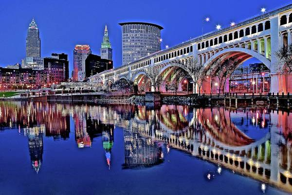 Wall Art - Photograph - Blue Night Reflection In Cle by Frozen in Time Fine Art Photography