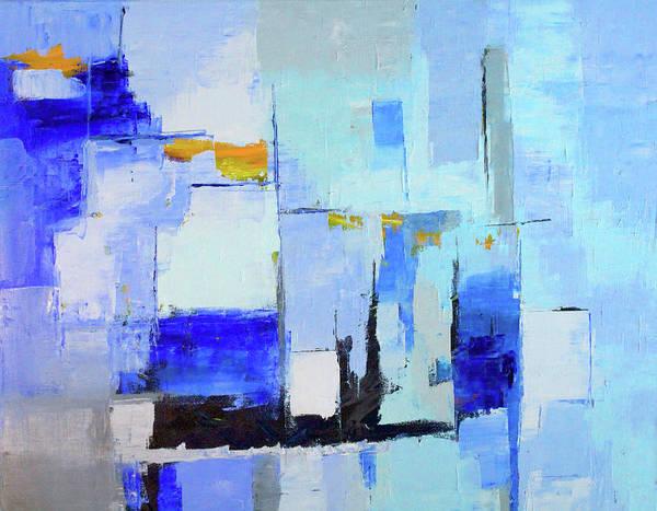 Ultramarine Blue Painting - Blue Note One by Nancy Merkle