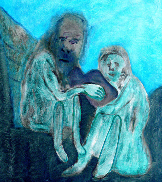 Digital Art - Blue Nudes On A Hill by Artist Dot