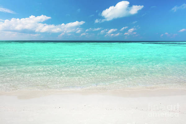 Photograph - Blue Ocean And Sandy Beach On Maldives. by Michal Bednarek
