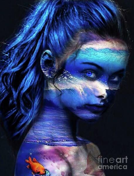 Wall Art - Digital Art - Blue Ocean Girl by Kathy Kelly