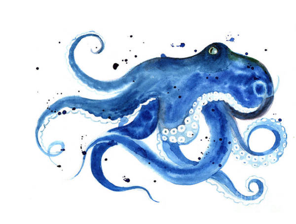Wall Art - Digital Art - Blue Octopus Silhouette Watercolor by Tatyana Komtsyan