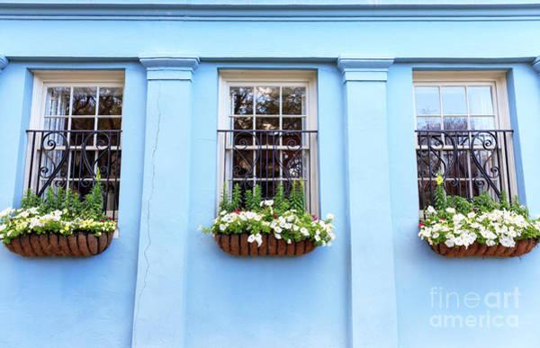 Photograph - Blue On Rainbow Row Charleston by John Rizzuto
