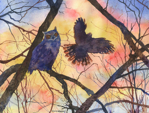 Painting - Blue Owl by Anne Gifford
