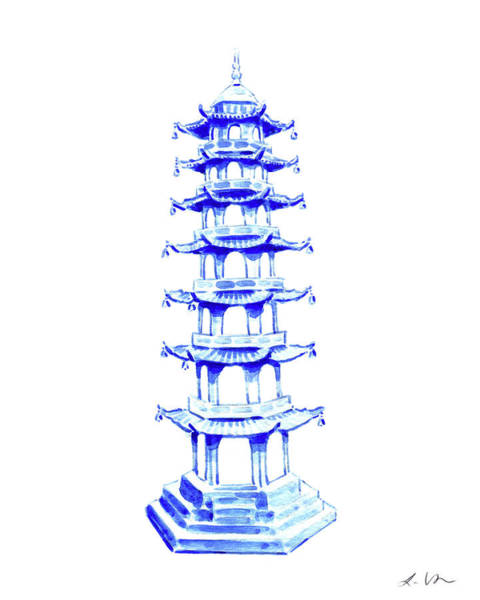 Wall Art - Painting - Blue Pagoda No. 4 by Laura Row