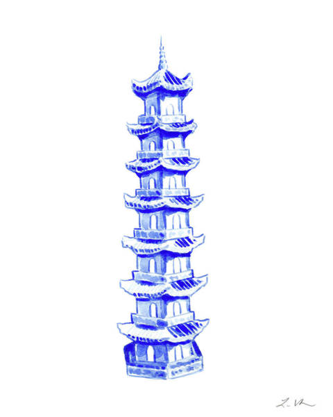 Wall Art - Painting - Blue Pagoda No. 5 by Laura Row