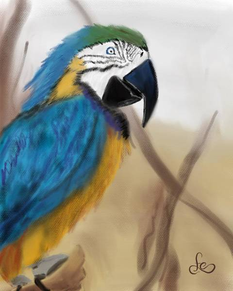 Digital Art - Blue Parrot by Fe Jones