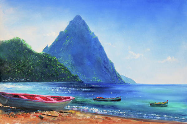 Saint Lucia Painting - Blue Piton by Jonathan Guy-Gladding JAG