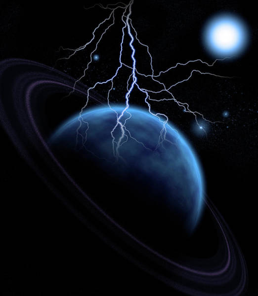 Photograph - Blue Planet With Rings And Lightning by Bruce Rolff