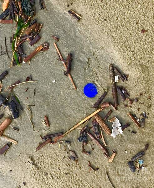 Photograph - Blue Plastic On Sand by Suzanne Lorenz