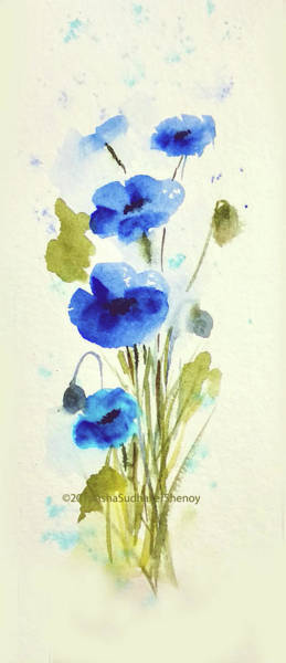 Wall Art - Painting - Blue Poppies by Asha Sudhaker Shenoy
