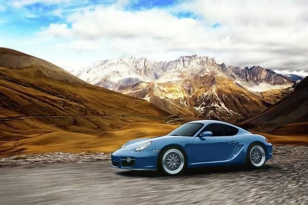 Motor Sport Photograph - Blue Porsche Cayman In Front Of by Christof R Schmidt