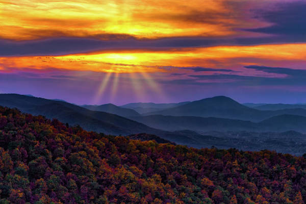 Wall Art - Photograph - Blue Ridge Autumn Sunrise by Dan Carmichael