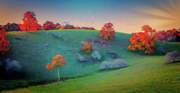 Wall Art - Digital Art - Blue Ridge Parkway Autumn Hilltop Fx by Dan Carmichael