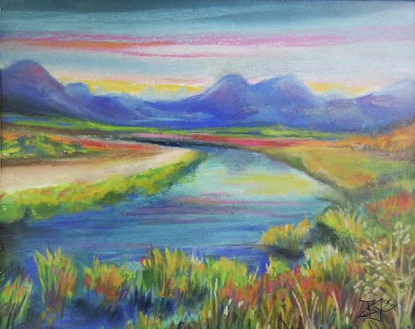 Pastel - Blue River by Jean Batzell Fitzgerald