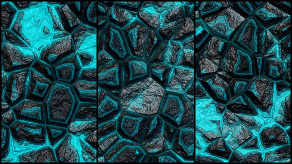 Digital Art - Blue Rock Wall Abstract Triptych by Don Northup