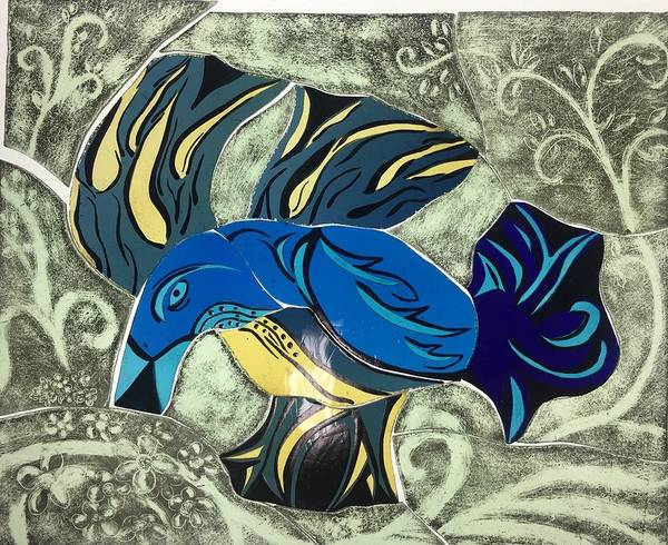 Wall Art - Glass Art - Blue Rooster by Keith Berkland