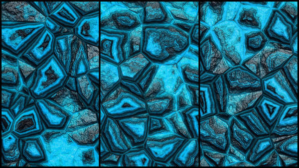 Digital Art - Blue Rough Stone Wall Triptych by Don Northup