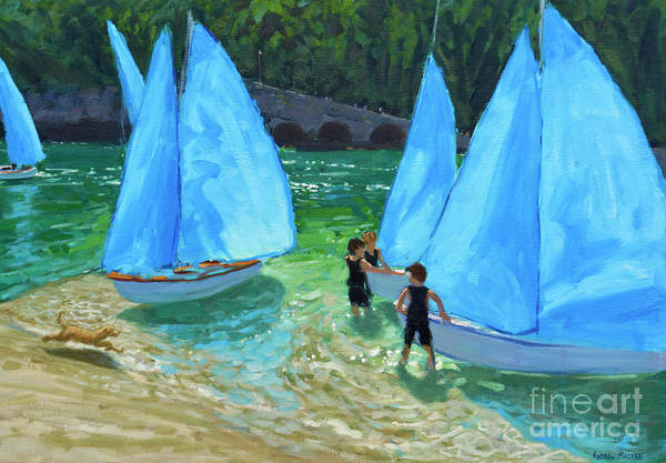 Wall Art - Painting - Blue Sails, Looe by Andrew Macara
