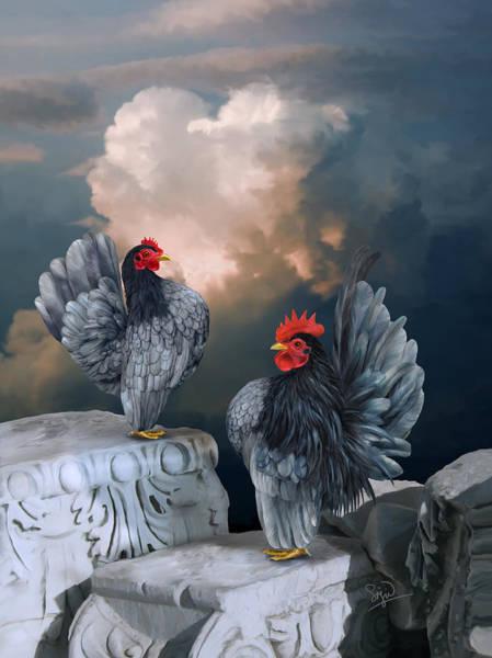 Digital Art - Blue Serama Pair by Sigrid Van Dort