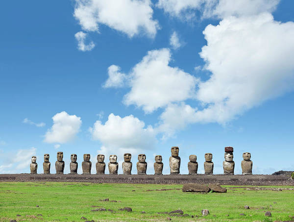 Ancient Photograph - Blue Sky Over Moai At Ahu Tongariki by Grafissimo