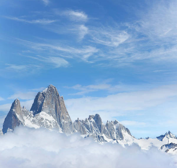 Wall Art - Photograph - Blue Sky Over Mount Fitz Roy In by Grafissimo