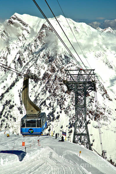 Photograph - Blue Snowbird Tram Car Portrait by Adam Jewell