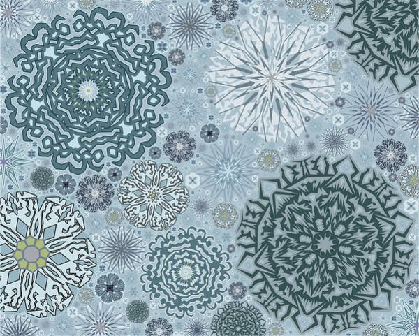 Temperature Digital Art - Blue Snowflake Pattern by Bodhi Hill