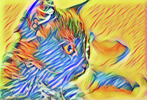 Digital Art - Blue Striped Kitty by Don Northup
