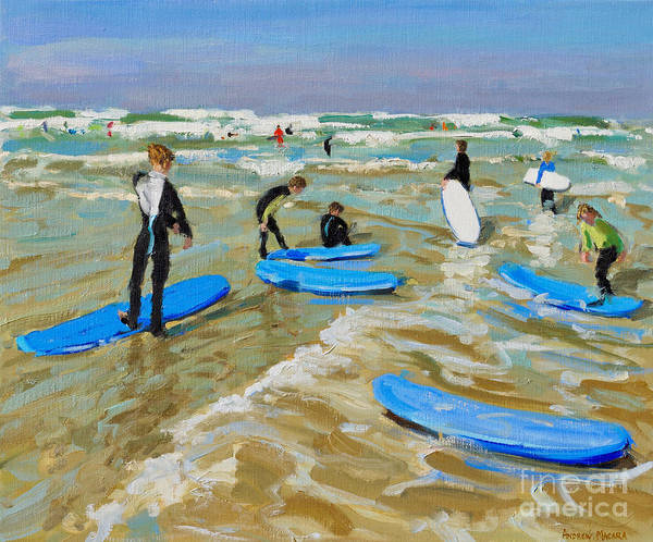 Wall Art - Painting - Blue Surf Boards, Bude by Andrew Macara