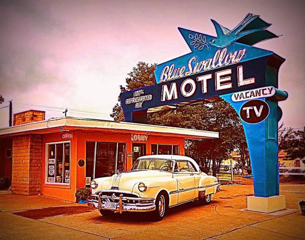Wall Art - Digital Art - Blue Swallow Motel, Route 66 by Matt Richardson