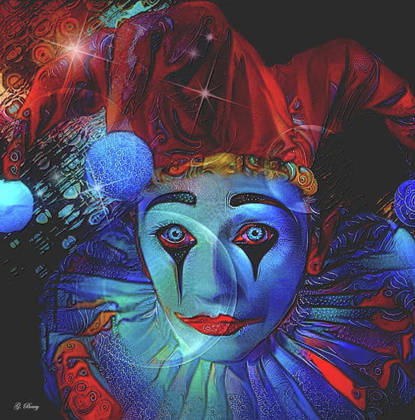 Harlequin Mixed Media - Blue The Clown by G Berry