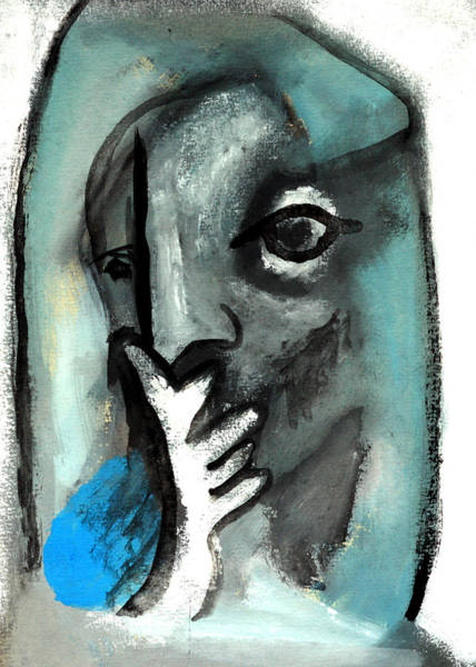 Painting - Blue Thinker by Artist Dot