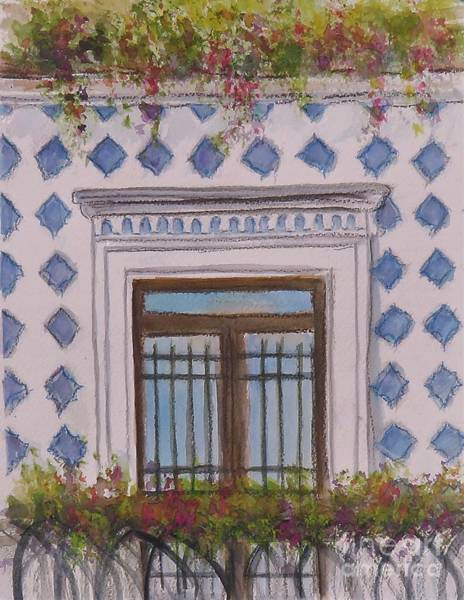 Painting - Blue Tiled Balcony Of Amalfi by Laurie Morgan