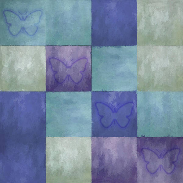 Digital Art - Blue Tiles With Butterflies by Jason Fink