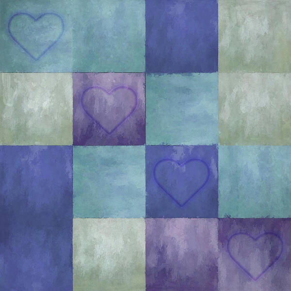 Digital Art - Blue Tiles With Hearts by Jason Fink