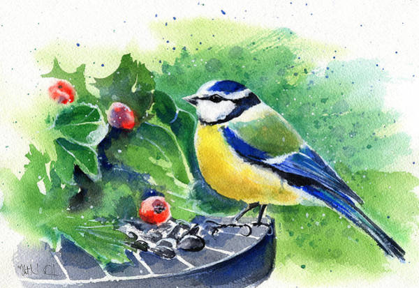 Painting - Blue Tit by Dora Hathazi Mendes