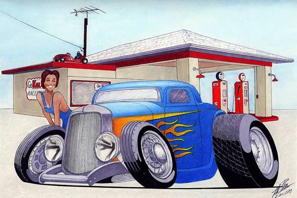 Wall Art - Drawing - Blue Toon by Lyle Brown