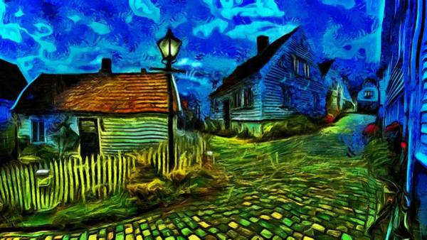 Wall Art - Painting - Blue Town by Harry Warrick
